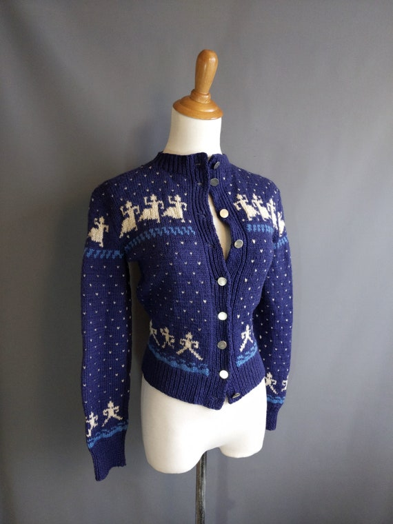 1940s dancing people handknit intarsia cardigan sw