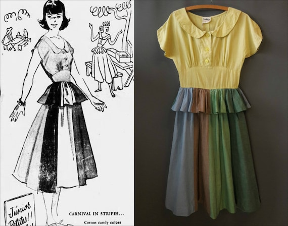 1940s colorblock chambray cotton dress, carnival s