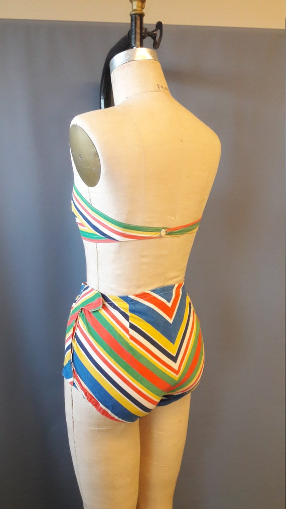 rare 1940s mitered stripe two piece swimsuit, 194… - image 5