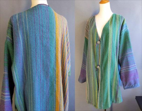 handwoven green purple striped wool blanket long c
