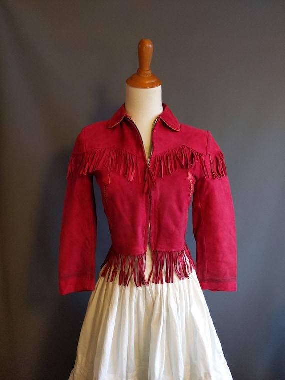 1950s Dale Evans red suede western fringe jacket,