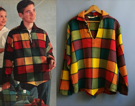 1960s popover poncho pullover, rainbow plaid wool,