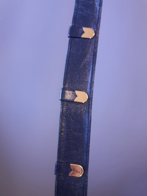 sm - 1950s navy blue crinkly patent leather belt … - image 7