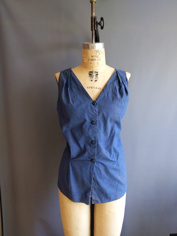 1940s volup size sun top, blue chambray tall large