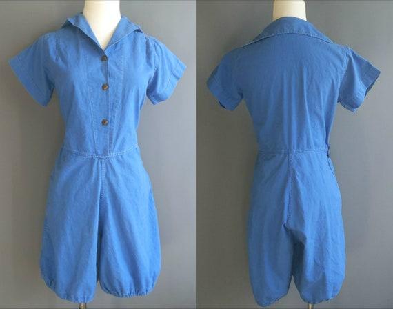 1930s-40s gymsuit, blue cotton sanforized 1940s gy