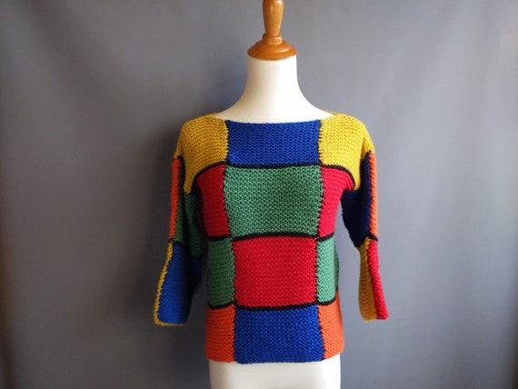 1960s mod patchwork homemade hand knit sweater, sm