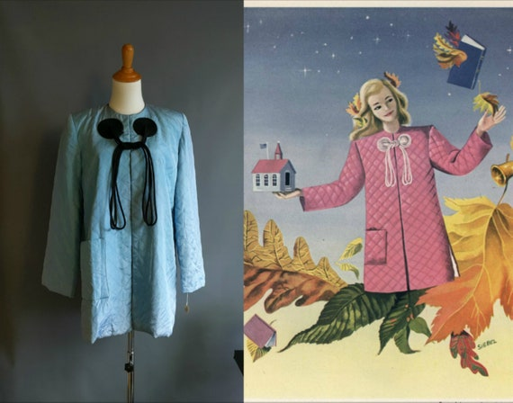 1940s Textron housecoat, blue and black rayon quil