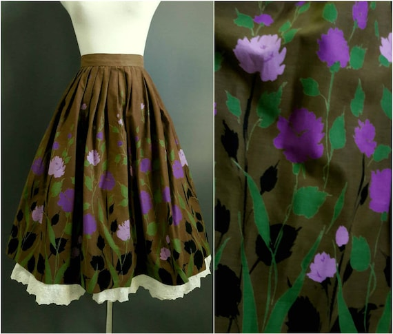 1950s border print skirt, 50s novelty skirt, 1950s