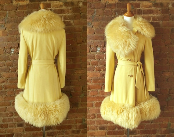 1960s yellow coat, fluffy dyed shearling wool fur
