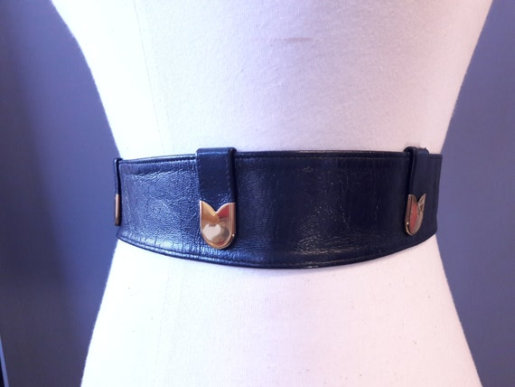 sm - 1950s navy blue crinkly patent leather belt … - image 2