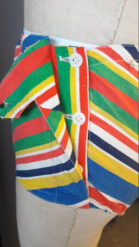 rare 1940s mitered stripe two piece swimsuit, 194… - image 7
