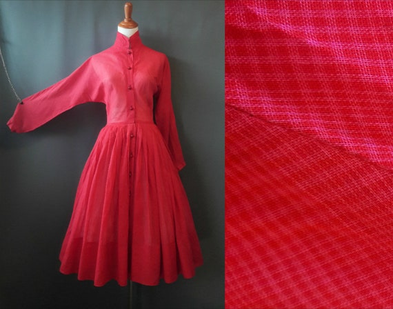 1950s Claire McCardell dress, red and pink glen pl