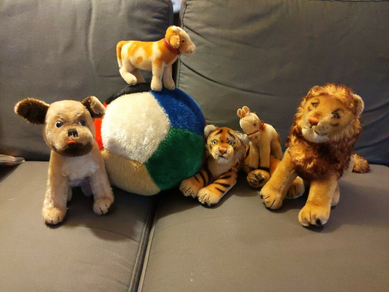1960s steiff lot of six stuffed animals toys: tiger, lion, horse, bessy cow, mopsy dog, large soccer ball, all mohair