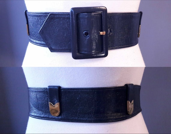 sm - 1950s navy blue crinkly patent leather belt … - image 1