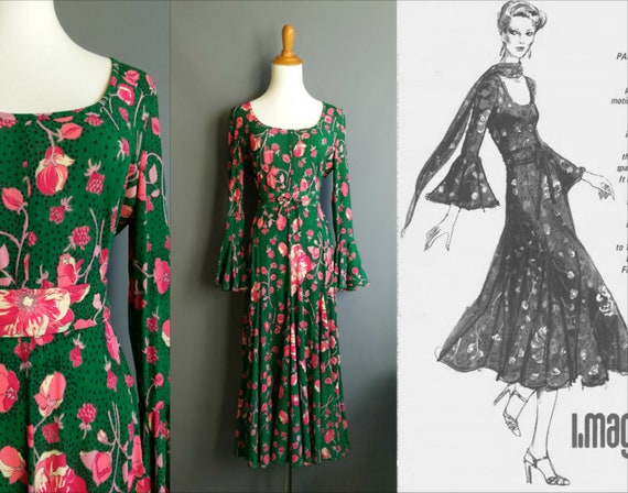 1970s ingrid cado floral dress, green and pink ros