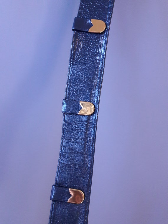 sm - 1950s navy blue crinkly patent leather belt … - image 6