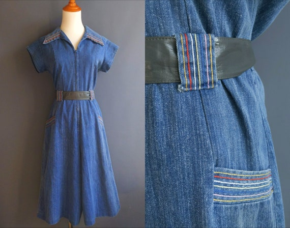 1970s denim jumpsuit, rainbow stitching, split ski