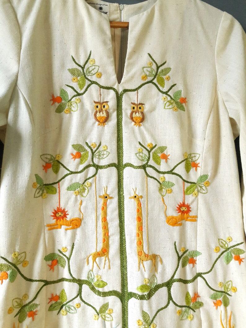 hand embroidered dress 1960s bohemian gown hippie wedding dress medium size 1960s tree of life dress 1960s caftan 1960s hippie dress