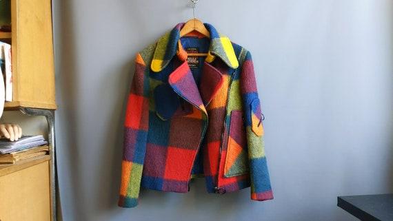 1970s rainbow plaid wool motorcycle jacket, medium