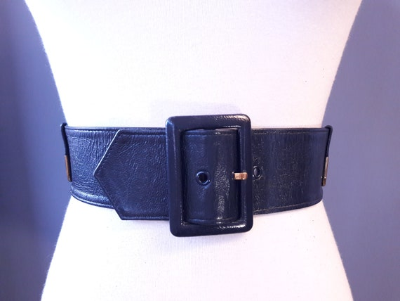sm - 1950s navy blue crinkly patent leather belt … - image 3