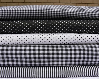 Black and White - Stripes - Polka dots - Gingham Check - small and large - pure cotton fabric - 1/2 Yard Total