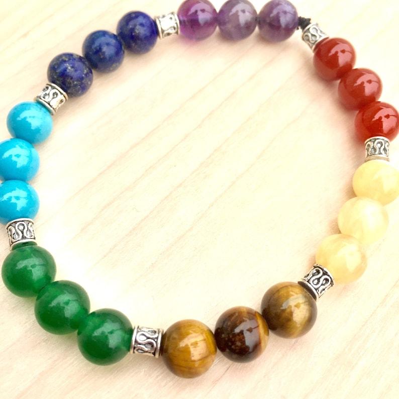 7 Chakra Bracelet for Spiritual Balance  Gemstone Stretch Bracelet  Unisex  Bracelets  Jewelry with a meaning  Healing jewelry  Yoga