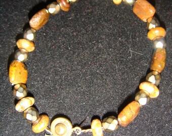 Bronzite and Brass Bracelet