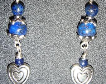Lapis & Pewter Heart Pierced Earrings