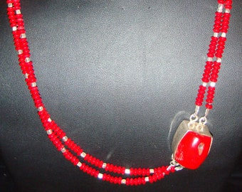 Red Coral Double Stand Necklace with Silver spacers and Silver Coral Clasp