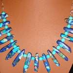 Turquoise, Lapis, Jasper Spike Beads and Sterling Silver Chain Partial Bib Necklace