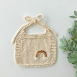 Knit baby bib with golden rainbow | sizes 0-6 or 6-12+ months | drool bib