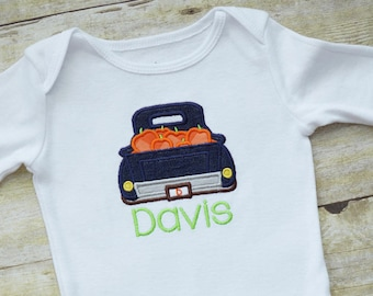 Blue Denim Pumpkin Truck with Name Baby BODYSUIT - Short or Long Sleeves - Boy - Personalized - Halloween - Thanksgiving - Fall