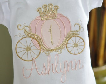 1st birthday princess shirt cinderella carriage one  ready to ship 12months