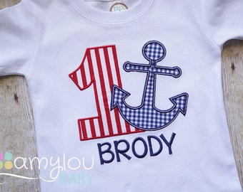 8d422f7b6fd7 Anchor Baby Toddler Personalized Birthday Shirt - Boy or Girl - Fourth of  July - Summer - Vacation - Beach - Embroidered