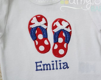 f0a059574b74 Flip Flops Personalized BODYSUIT - Summer Vacation - Girl - Child - Baby -  Patriotic - Red White Blue - Birthday Party - Embroidered