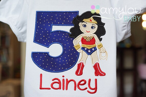 Wonder Woman Inspired Birthday Shirt Blue Red Gold ANY