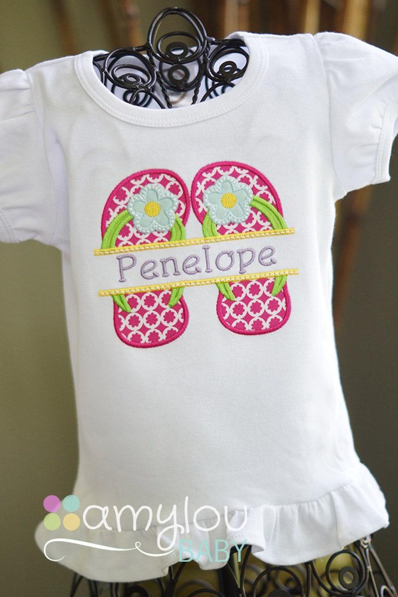 ffa378b17077 Summer Flip Flops Personalized Toddler Shirt Girl Child