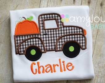 Brown Gingham Pumpkin Truck with Name Toddler Tee Shirt - Short or Long Sleeves - Boy - Personalized - Halloween - Thanksgiving - Fall