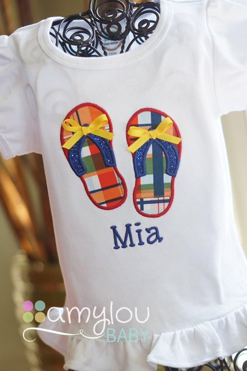 c4e2dd3e016a Red Yellow Blue Flip Flops Personalized Toddler Shirt Girl