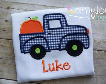 Navy Blue Gingham Pumpkin Truck with Name Toddler Tee Shirt - Short or Long Sleeves - Boy - Personalized - Halloween - Thanksgiving - Fall