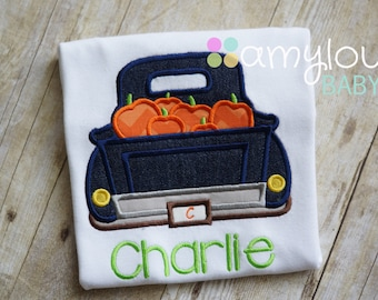 Denim Pumpkin Truck with Name Toddler Tee Shirt - Short or Long Sleeves - Boy - Personalized - Halloween - Thanksgiving - Fall
