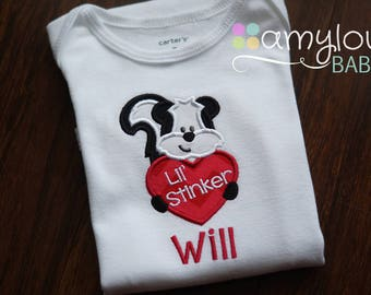 Valentine's Day Lil Stinker Baby BODYSUIT  Personalized - Skunk with Heart - Child - Kids - Short or Long Sleeves - Boy or girl