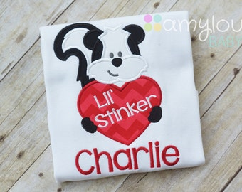 Valentine's Day Lil Stinker Toddler Tee Shirt Personalized - Skunk with Heart - Child - Kids - Short or Long Sleeves - Boy or girl