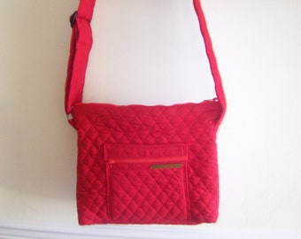 red square bag quilted red bag  red purse
