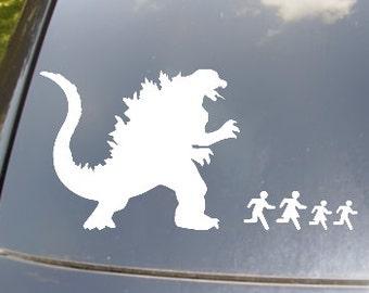 Godzilla Attack Family Car Sticker Set of 4