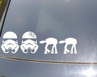 Stormtrooper Family Car Sticker with AT AT Pets/Kids
