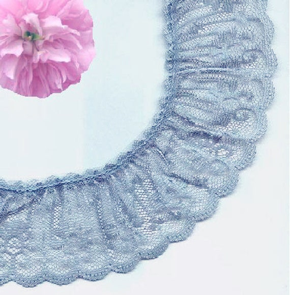 """1, 5 or 10 Yards #T4545 3//4/""""  White  Lace Trim  With Shades of Light Blue"""