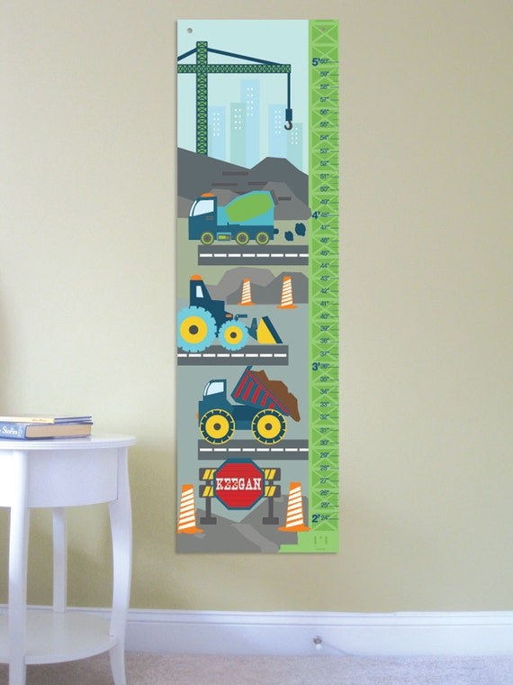 Construction Growth Chart For Kids Construction Scene Etsy