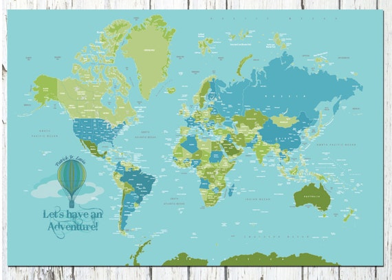 World Map Poster Country Names 24X36 Travel Artwork Travel   Etsy