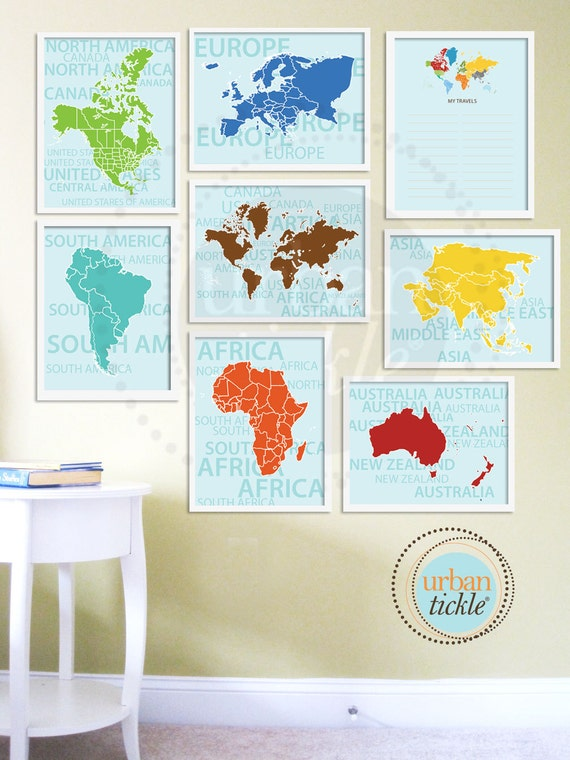 World map art for nursery travel list and continents set of etsy image 0 gumiabroncs Images